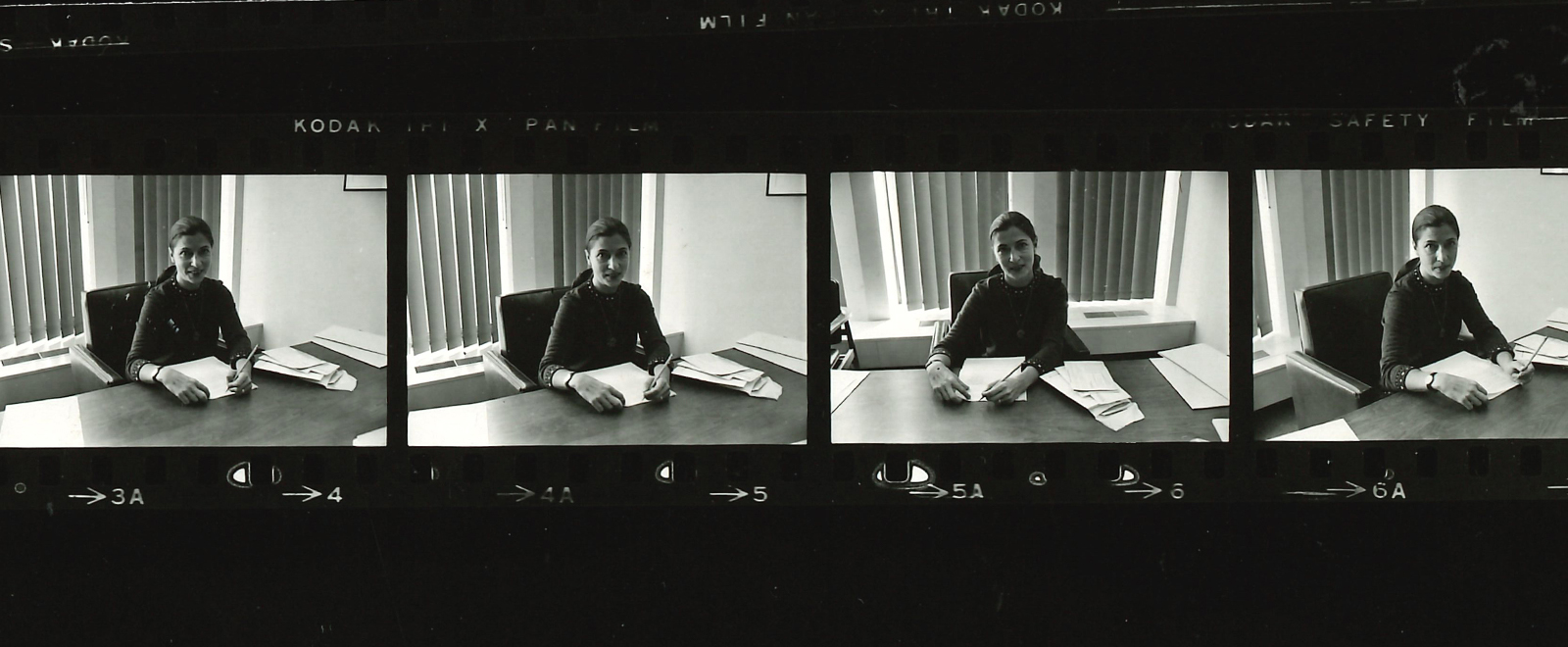 A film strip with pictures of Ruth Bader Ginsburg as a professor in 1972