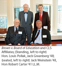 Brown v. Board of Education and CLS Affiliates Louis Pollak, Jack Greenberg, Jack Weinstein, and Robert Carter