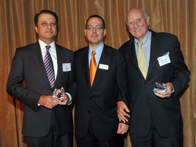 U.S. Attorney Preet Bharara '93, Dean David M. Schizer and Senior U.S. District Judge Jack B. Weinstein '48 at the Wien Prize luncheon. The annual Columbia Law School award honors lawyers who make an outstanding contribution to the public good.