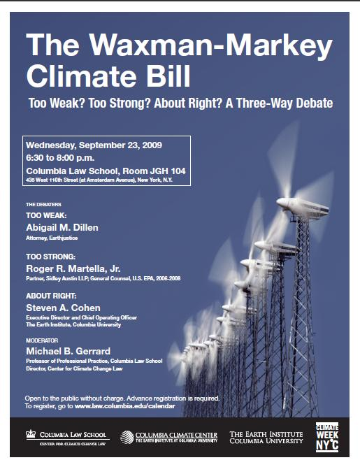 Purple Waxman-Markey event flyer with wind turbines