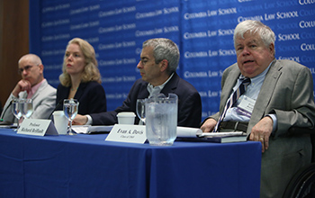 A panel discusses the challenges of political corruption