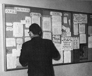 Photo of a student as he peers at a notice on a bulletin board.