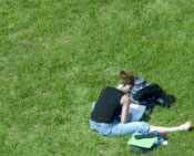 Photo of a girl studying while sitting on the grass.