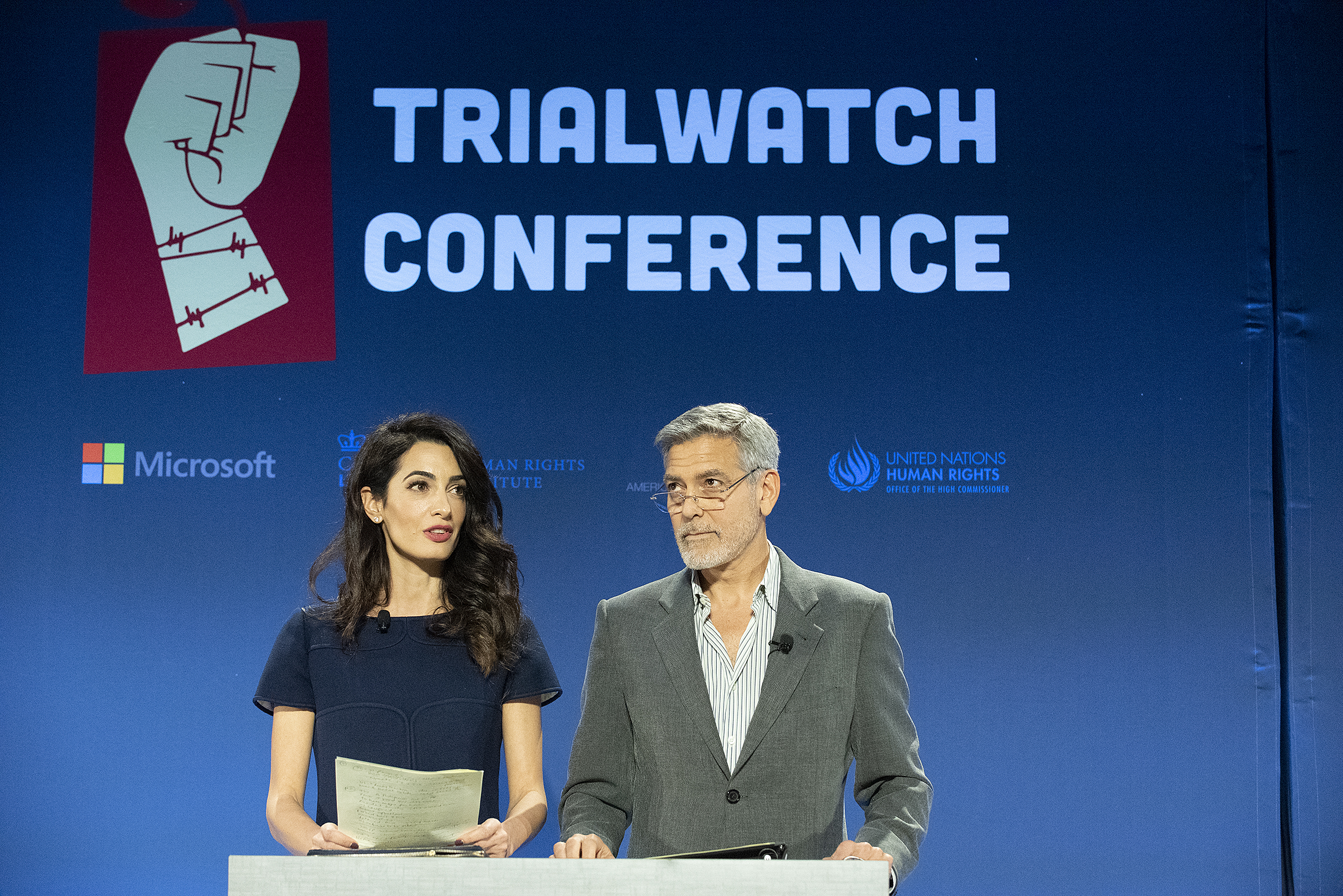 From left: Columbia Law School Visiting Professor and Clooney Foundation for Justice Co-President Amal Clooney, and Clooney Foundation for Justice Co-President George Clooney.
