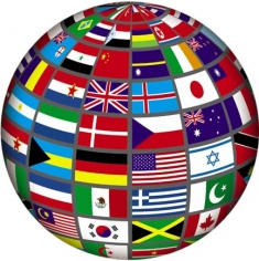 Globe with flags of the world