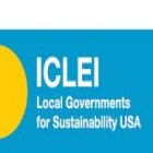 ICLEI logo on blue background