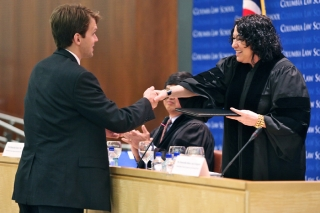 Supreme Court Justice Sotomayor congratulates a graduating Columbia Law student
