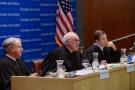 The arguments were heard by a panel of distinguished federal judges: (from left to right) Judge William A. Fletcher of the 9th Circuit Court of Appeals, Judge Robert D. Sack '63 of the 2nd Circuit Court of Appeals, and Judge Jeffrey S. Sutton of the 6th Circuit Court of Appeals.