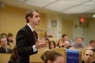 Joseph Alm '13 makes his case for the appellee during the final round of the Harlan Fiske Stone Moot Court competition.
